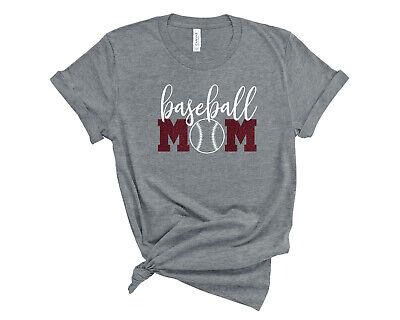 Baseball Mom Shirt (Personalized Baseball Mom Glitter T-Shirt Custom Baseball Mom Sports)