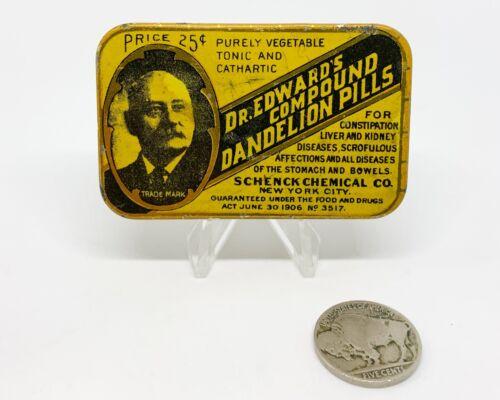 1900 Antique Dr Edwards Dandelion Pills Tin Quack Medicine Vintage Advertising