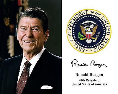 (President Ronald Reagan Presidential Seal Autograph 8.5x11 Photo Portrait)