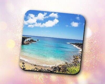 Beach Coaster • Shore Clear Blue Ocean Blue Sky Nature Gift Decor Desk Accessory ()