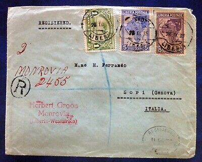 Liberia 1935 Travelled Multistamped Rec. Cover from Monrovia to Italy