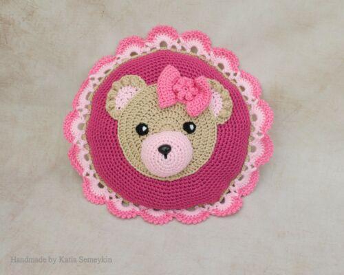 Crochet Bear Pillow, kids room decor, nursery decor
