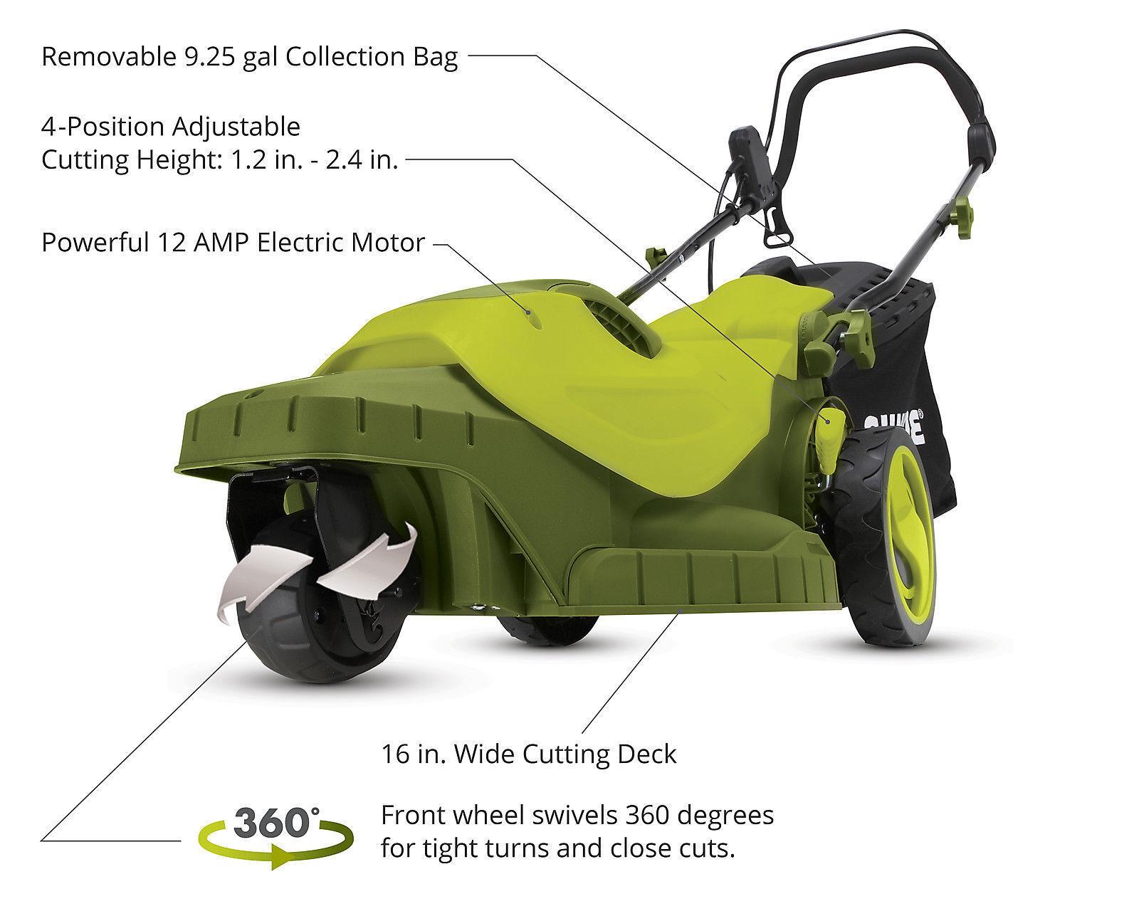 Sun Joe MJ404E-360 Electric Lawn Mower 3-Wheels·16 Inch 12