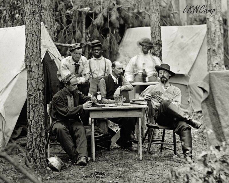 8 by 10 Photo Print Civil War Soldiers Enjoying a Drink a Smoke Playing Cards