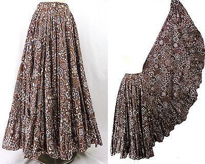 Vintage 70s Brown Mod Floral Print Maxi Prairie Skirt HUGE Full Sweep Ruffles S