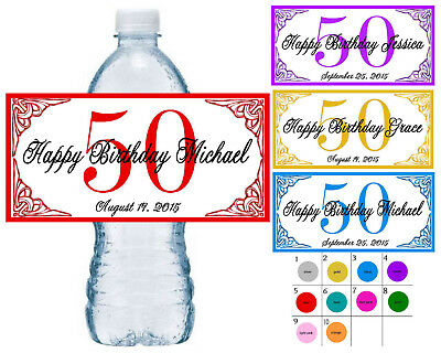 50 ~ 50TH BIRTHDAY PARTY FAVORS WATER BOTTLE LABELS ~ PERSONALIZED  - 50th Birthday Party Supplies