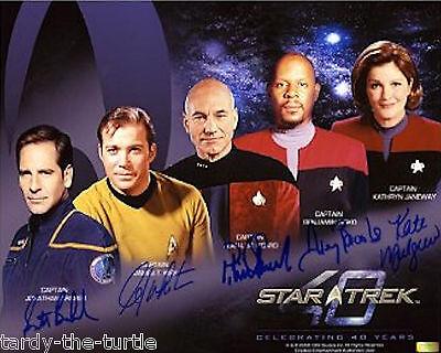 Star Trek Captains  8 x 10 Autograph Reprint Scott Bakula William Shatner +3