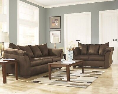 Luna Casual Chocolate Cafe Sleeper Sofa & Loveseat Microfiber 2pc LivingRoom Set