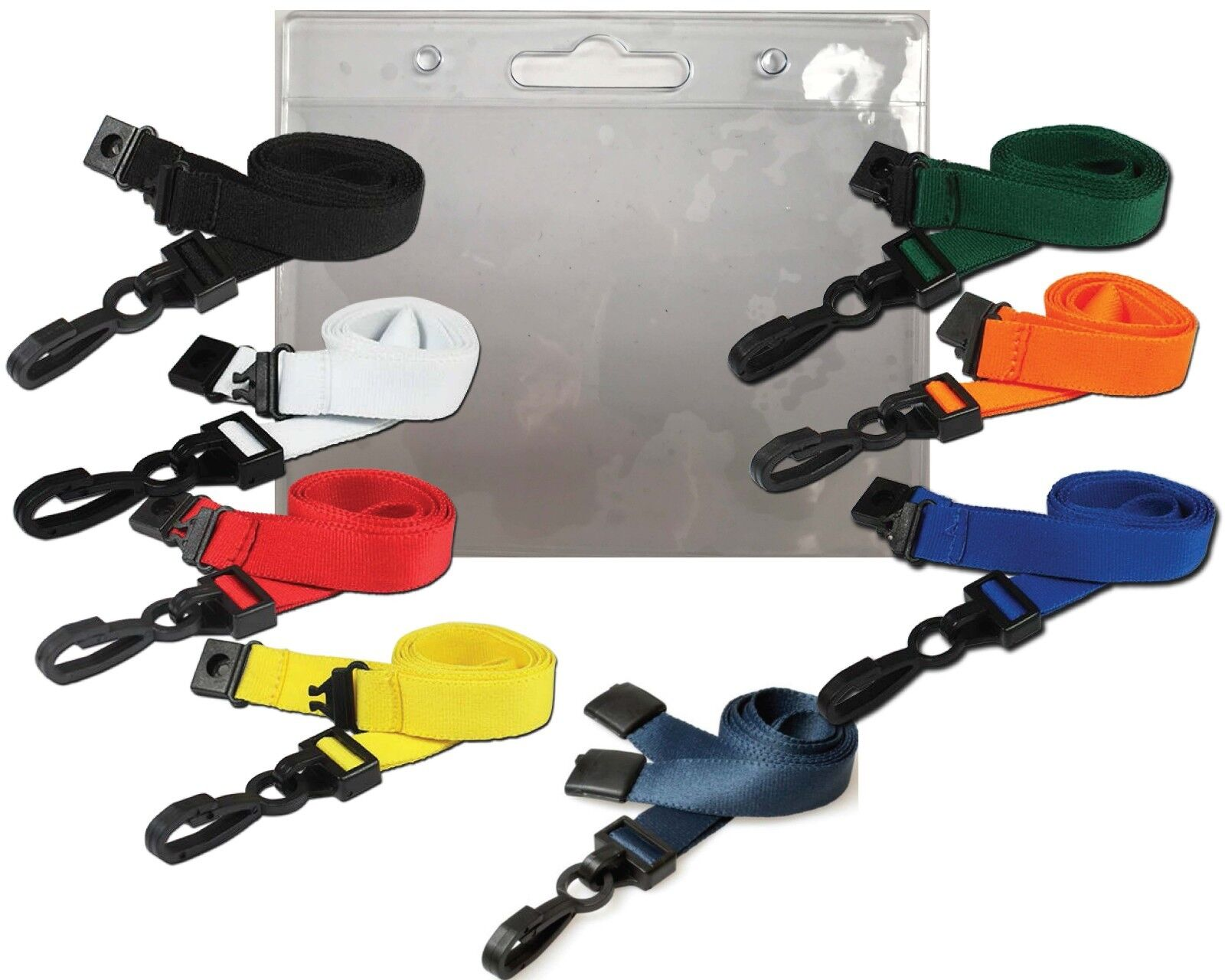 Pack of 10 15mm Plain Black Lanyards With Safety Break Clip Heavy Duty