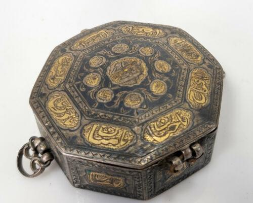Antique Persian Mughal Qajar Quran Box Silver Gilt Calligraphy Turkish