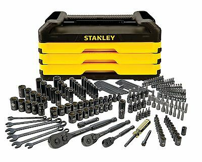 NEW STANLEY 203 Pc. Mechanics car Tool Set with Metal Storage Box STMT79302