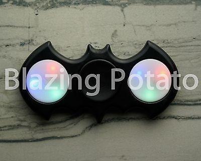 Light Up LED Bat Fidget Hand Spinner Figet Desk Toy Focus EDC ADHD ☆USA☆ BLACK