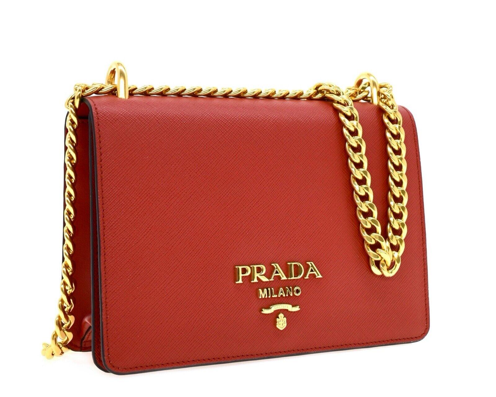 Prada Chain Crossbody Bag Red Saffiano Leather New
