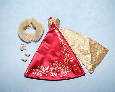 GORGEOUS! Red & Gold Flowing Holiday Formal Genuine BARBIE Gown Wrap & Heels