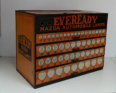 Vintage Mazda Auto Light Bulb Eveready Display Dealer Cabinet Extremely RARE!!