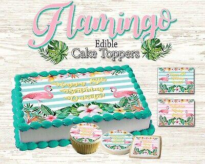 Flamingo Birthday Cake topper Edible picture sugar sheet decal cupcakes tropical - Tropical Cupcakes