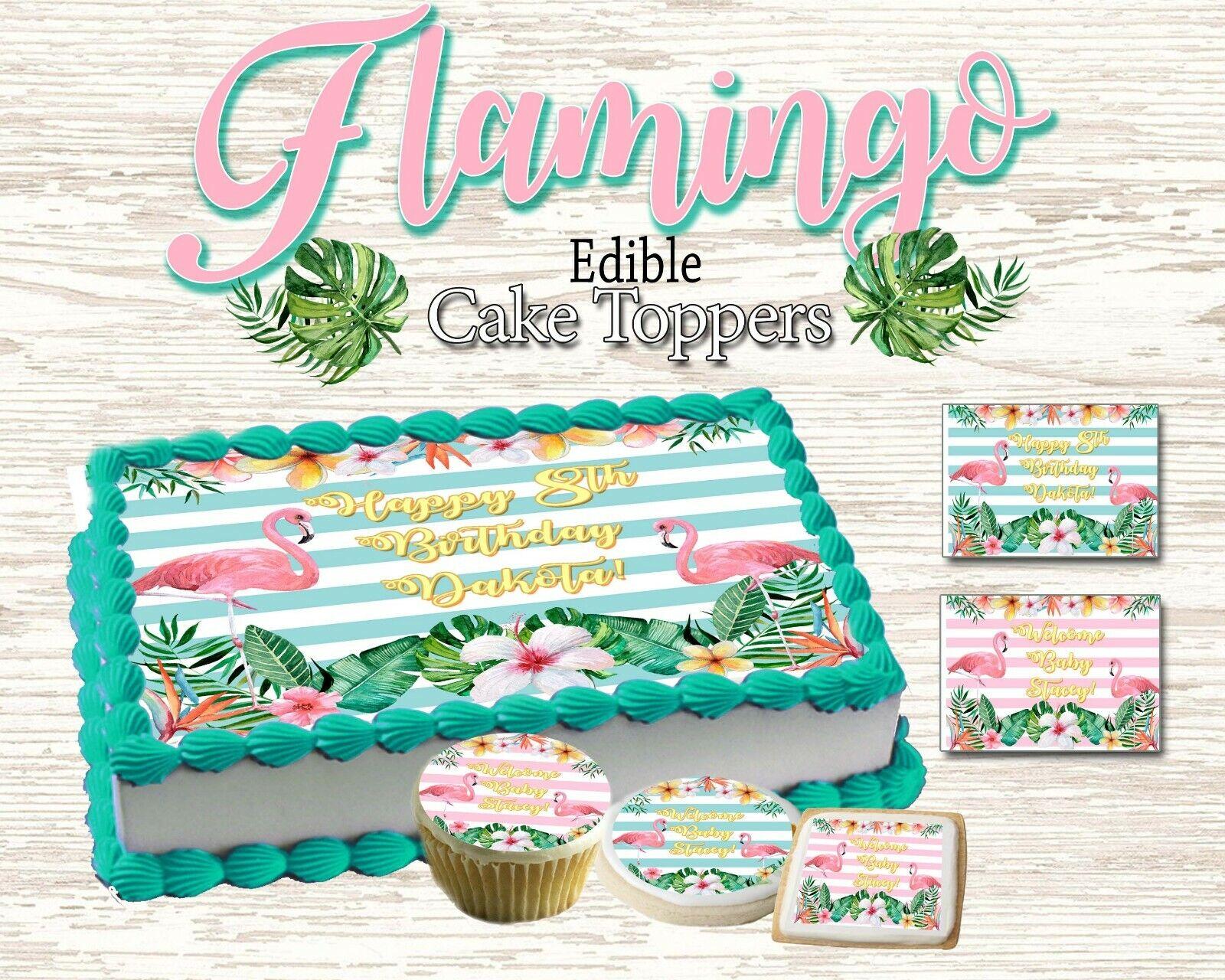 Flamingo Birthday Cake topper Edible picture sugar sheet dec