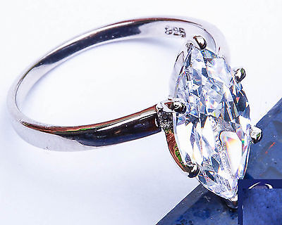 1 50Ct Marquise Cut Solitaire  925 Sterling Silver Ring Size 5 10 Free Shipping