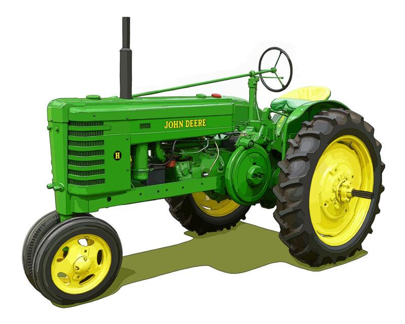 John Deere Model H canvas art print by Richard Browne farm tractor