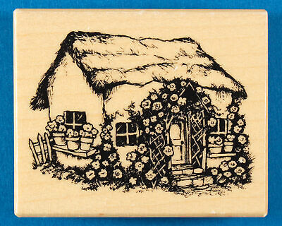 PSX Cottage with Roses Rubber Stamp G-2862 - Tiny House with Garden Flower Arch, used for sale  Minneapolis