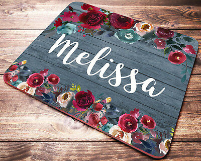 Custom Name Personalized Mouse Pad Red Roses Office Desk Accessories for Women (Customes For Women)