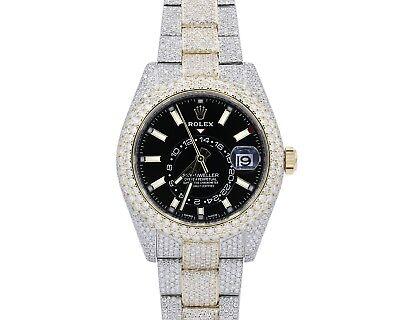 Rolex Two Tone Mens skydweller Custom Diamond Watch