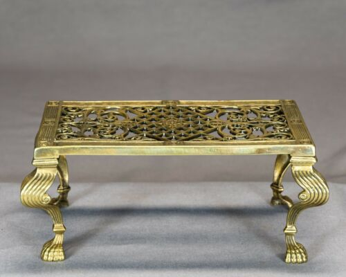 Antique Victorian Fancy Brass Fireside Trivet ( Mfg. Archibald Kenrick & Sons)