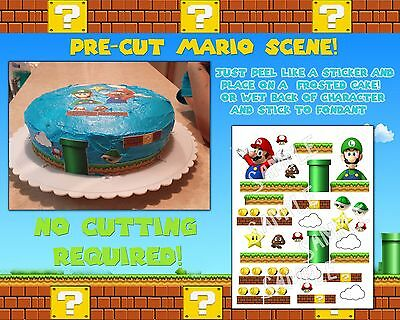 Mario edible cake stickers characters paper birthday topper pictures ideas easy