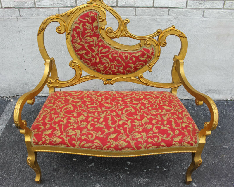 Gold Leaf French Louis XV Love Seat Newly Upholstered & Restored