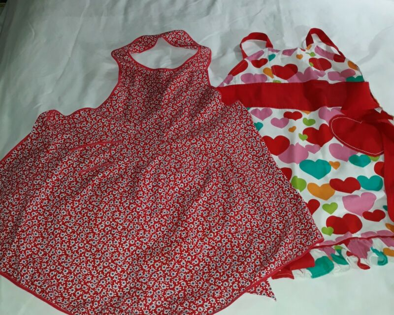 Vintage Bib Aprons Multi Color Hearts & Red Gingham W/Wh& Blue Flowers