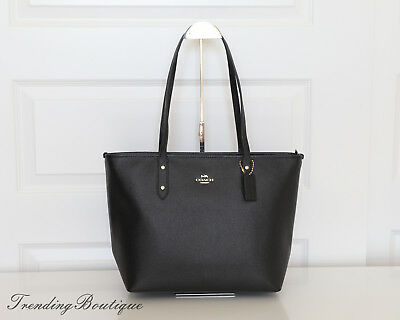 New Coach Crossgrain Leather Zip Top City Tote Shoulder Bag in Black F58846