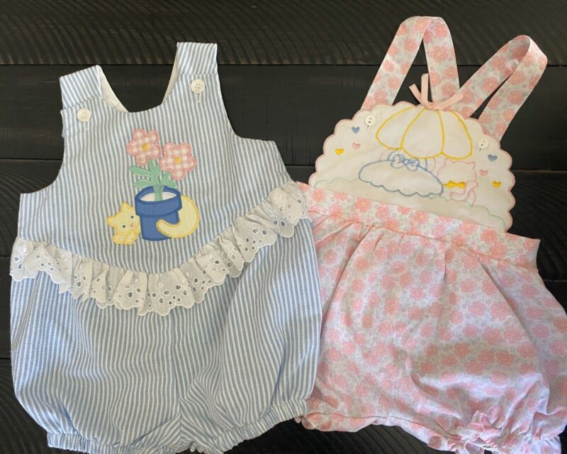 Vintage Baby Girl Infant Rompers Sunsuit Lot Of 2 Kitty Cat