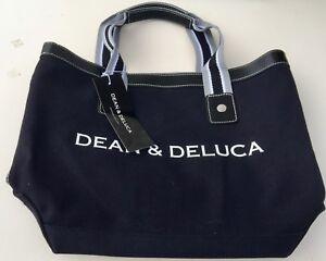 Dean Deluca Small Signature Black Tote Handbag White Striped Lining