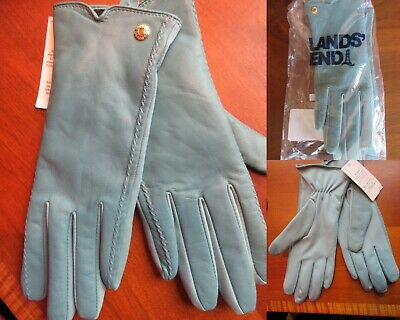 NWT Lands End Womens Spandex & Leather Gloves Size -