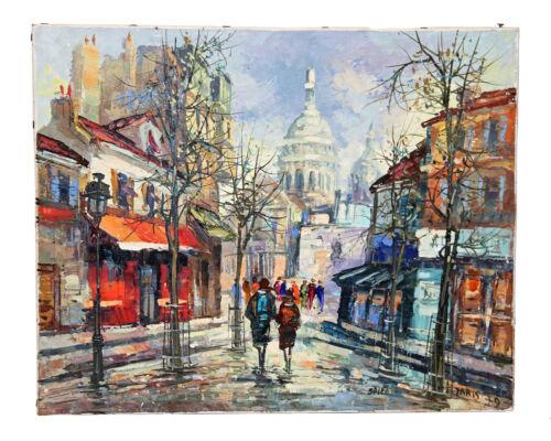 Vintage Original Signed Painting Dmitry Spiros Paris Scene Price Lowers til Sold