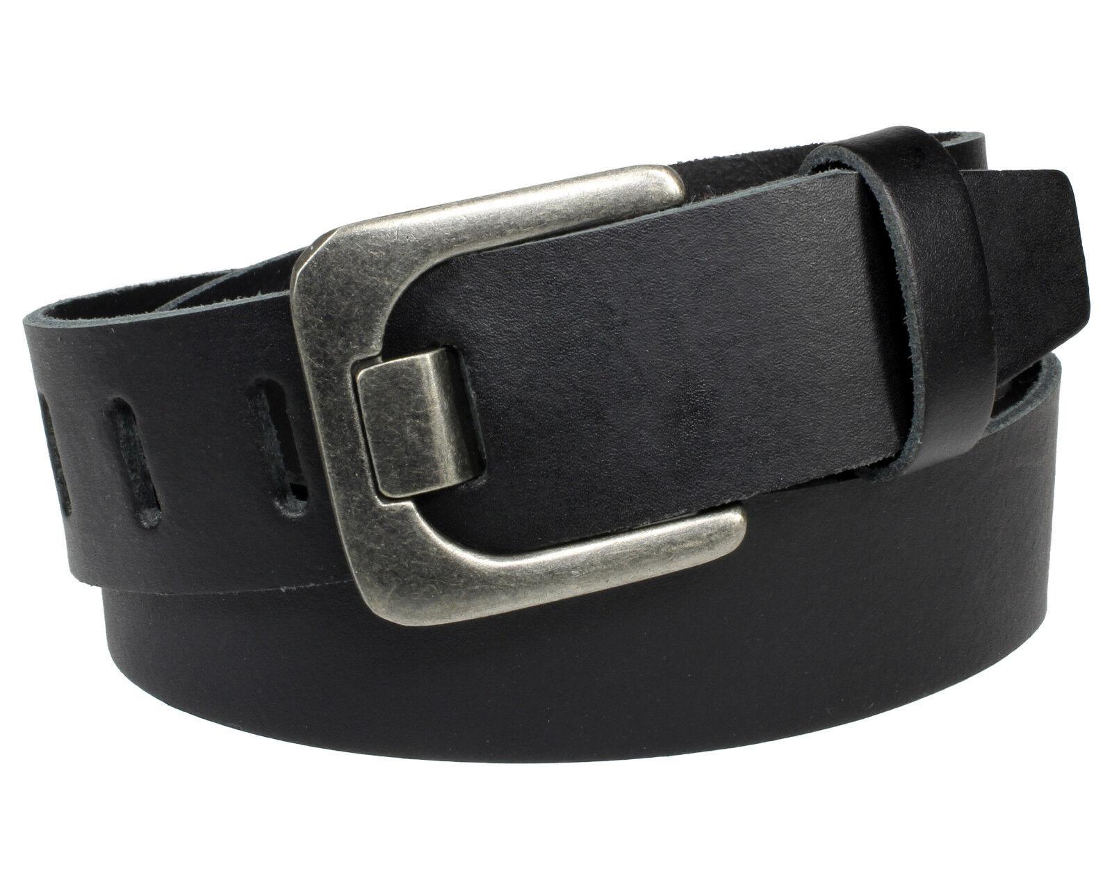 Gürtel 100 % Echt Leder schwarz Jeansgürtel 4cm Herren Damen Vascavi Ledergürtel