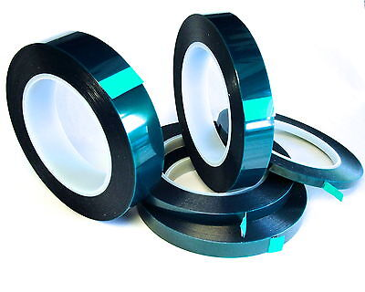 5 Roll High Temp Masking Tape Kit Powder Coating Paint Green Polyester Silicone