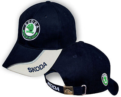 Skoda Blue Beige Baseball Cap Embroidered Auto Logo Adjustable Hat Mens -