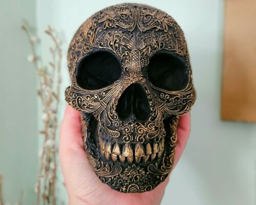 Black and Gold Gothic Skull, Intricate Filigree Skull, Gothic Decor, Halloween