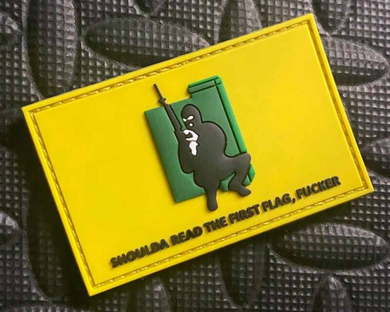 Shoulda Read The First Flag F*cker PVC Morale Patch IRA Gadsden Flag Patch USA