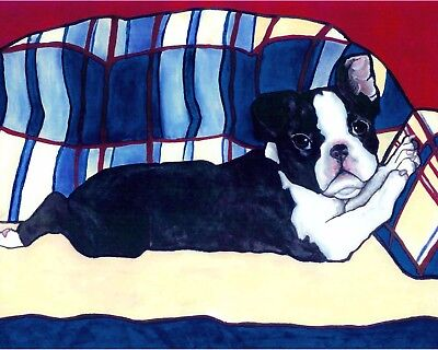 BOSTON TERRIER 2 Dogs Dog 8x10 Signed Art PRINT of Oil Painting by VERN