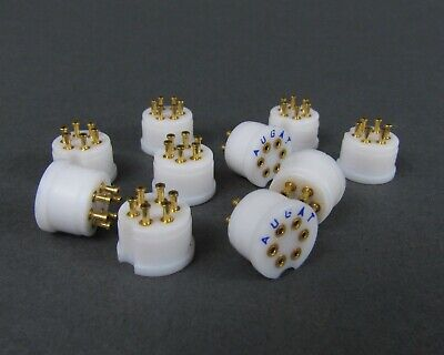 10 Augat Teflon Transistor Sockets - Gold To-5 Package Turret Style 6 Pos
