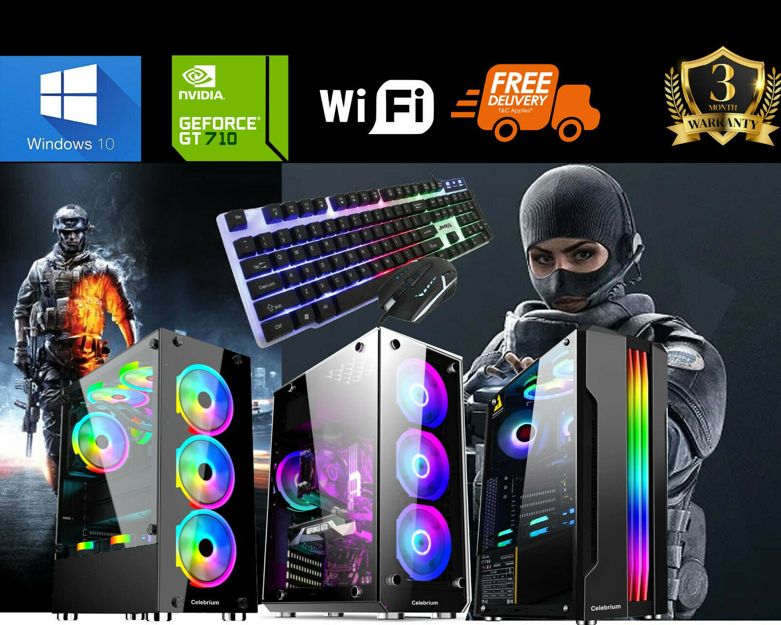 Computer Games - Fast Gaming PC Computer Bundle Intel Core i5 16GB 1TB 256GB SSD Win10 GT710 WiFi