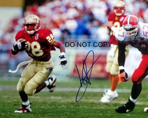 Warrick Dunn Signed 8x10 Autographed REPRINT PHOTO FSU Seminoles RP