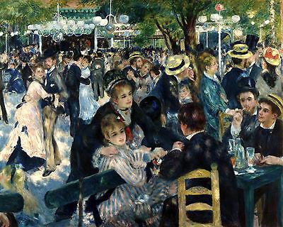 Renoir Dance At Le Moulin Paris France Painting 8x10 Real Canvas Art -