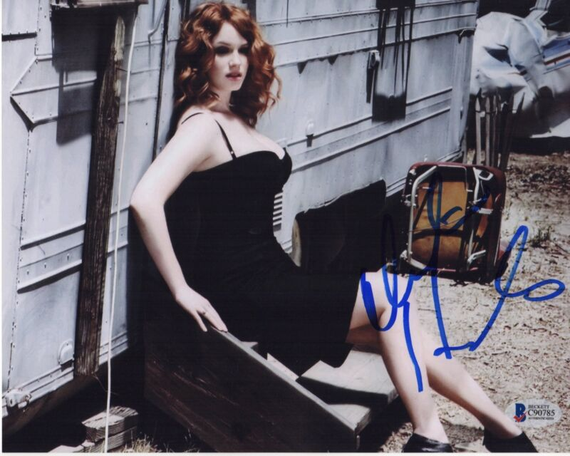 CHRISTINA HENDRICKS SIGNED PHOTO 8X10 AUTOGRAPH SEXY LEGS FEET MAD MEN BAS PSA