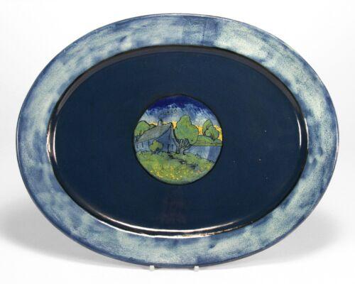 PRP Saturday Evening Girls pottery large platter house landscape arts & crafts