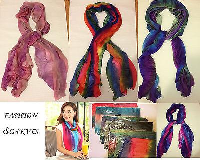 Wholesale 6 LOT Polyester Rain Bow Mix Color Women scarves