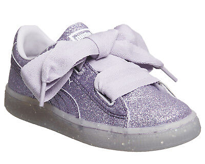Exclusive Kid Shoes (Kids Puma Basket Heart Ps Thistle Glitter Exclusive)