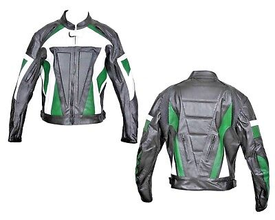 Leather Motorcycle Bike Jacket Biker Rider Touring Racing Vents CE Armour - Leather Vented Touring Jacket